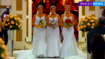 Identical triplets marry on same day in same dress