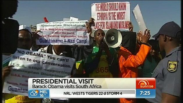 Protests amid Obama's South Africa visit
