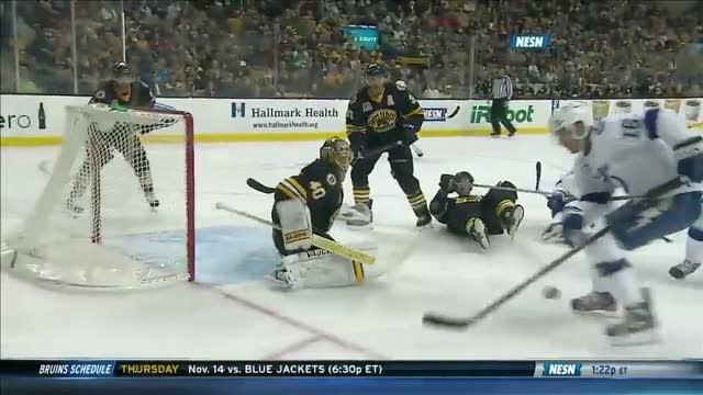 Tuukka Rask denies Stamkos on the backhand
