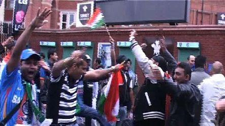Indian cricket fans in Oval celebrate victory