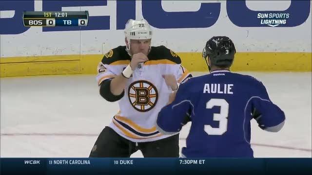 Shawn Thornton and Keith Aulie scrap