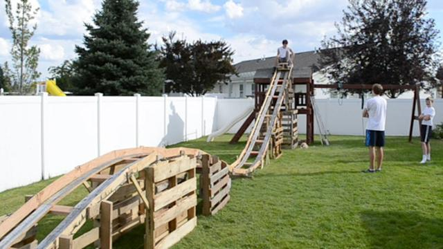 Teenage Boys Build Backyard Rollercoaster