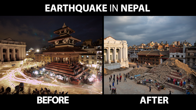 Before and after pictures of the Nepal earthquake