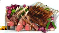 Chef Jeff Michaud's grilled lamb rack with favetta on THE Dish
