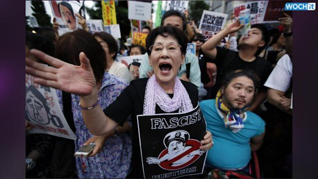 Thousands Of Japanese Protest Abe's Plans To Alter Pacifist Constitution