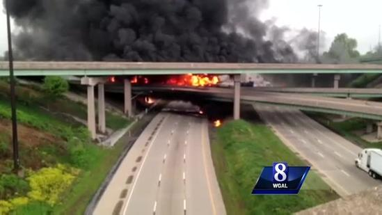 Raw video: tanker truck crashes and turns into a ball of fire in PA