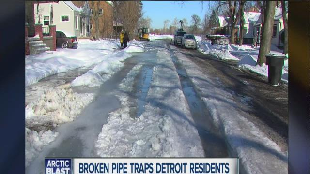 Broken pipe traps Detroit residents