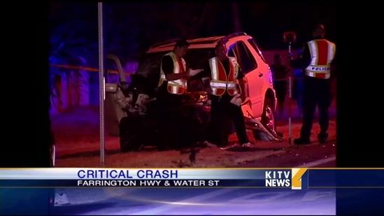 Officer involved in critical crash in Makaha