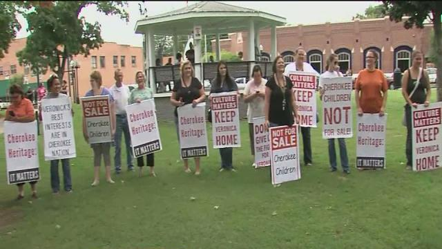 Protesters from Cherokee Nation gather to show support for 'Baby Veronica' outside courthouses in Tahlequah