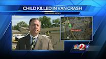 13-year-old dies when van crashes into concrete wall