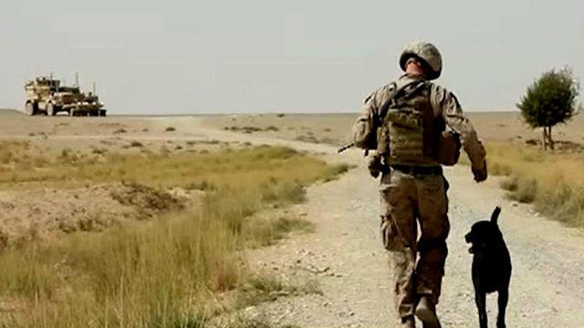 Lt. Col. Oliver North on patrol with Marines in Afghanistan