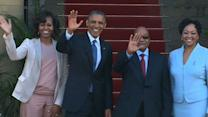 Raw: Obama Greeted by Zuma in S Africa