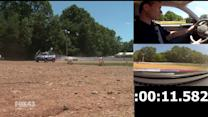 News Van Goes for A Spin on the Race Track