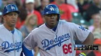 Umpires review Puig's triple