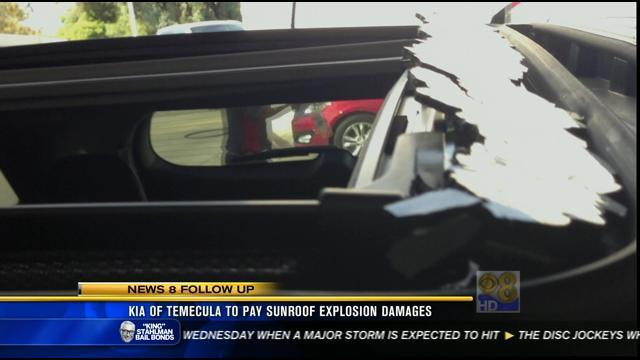 Kia of Temecula to pay sunroof explosion damages