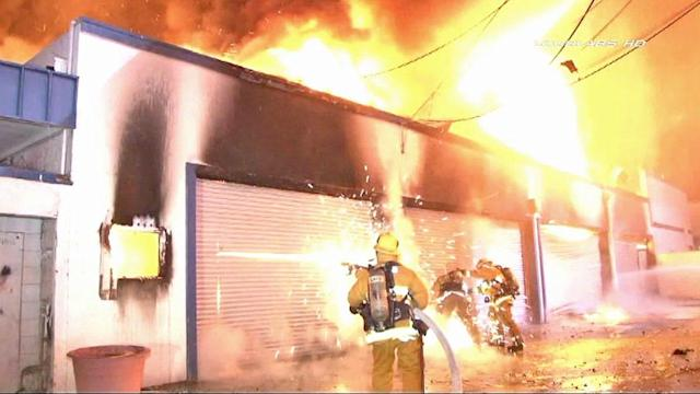 Fire rips through former car dealership in Ladera Heights