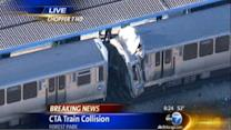 Runaway CTA train strikes another Blue Line train at Harlem stop: 33 injured in train crash in Forest Park
