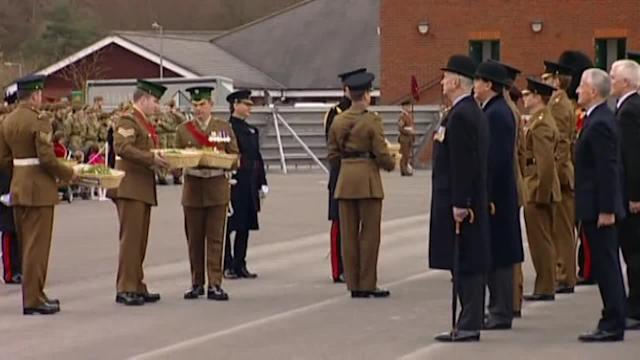 Kate presents shamrocks to troops to mark St Patrick's Day