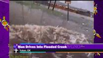Storm chaser drives into flooded creek