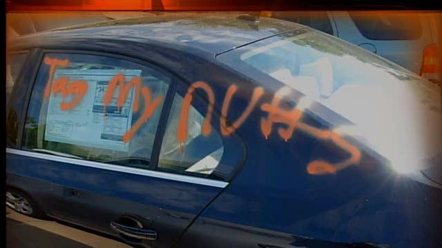 5pm: Cars spray-painted at Akron dealership