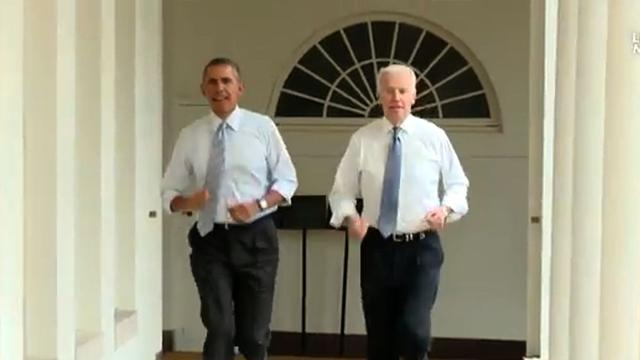 Obama, Biden take lap around the White House for the