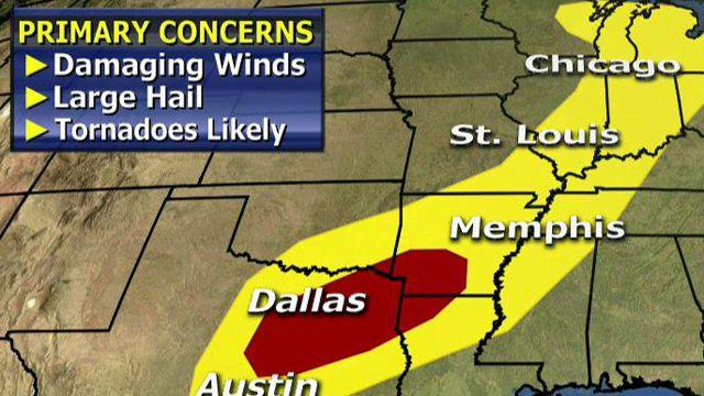 Elevated risk of severe weather from Texas to Great Lakes