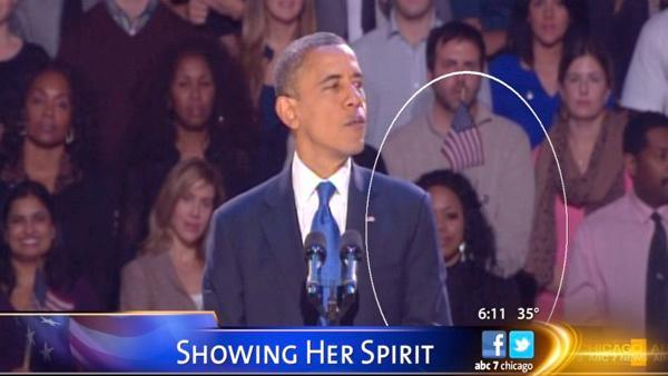 Flag Lady just wanted her hands free at Obama Election Night 2012 speech