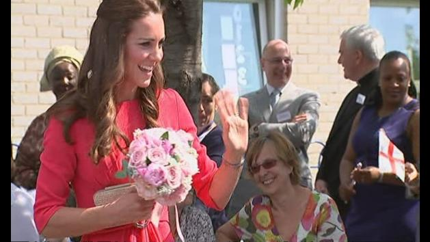 Duchess of Cambridge is pretty in pink as she visits school