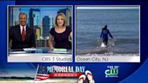 Nicole Braves The Chilly Water In Ocean City!