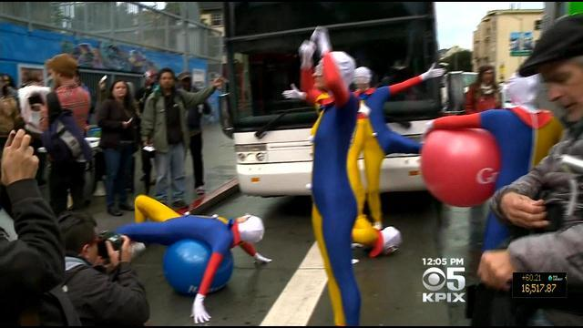 Protesters Stage April Fool's Day Google Bus Protest In San Francisco