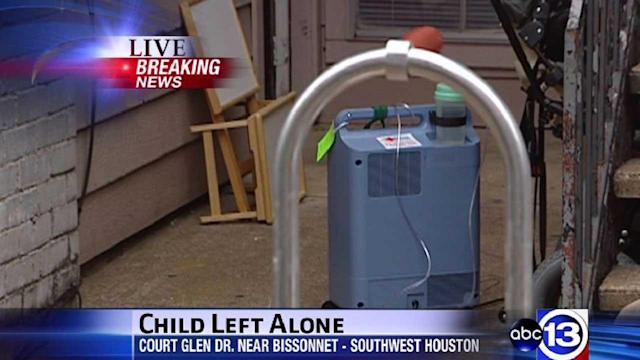 Child found home alone, hooked up to medical device