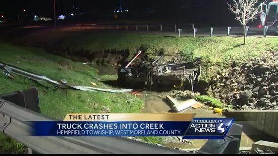 Truck crashes into creek in Hempfield Township
