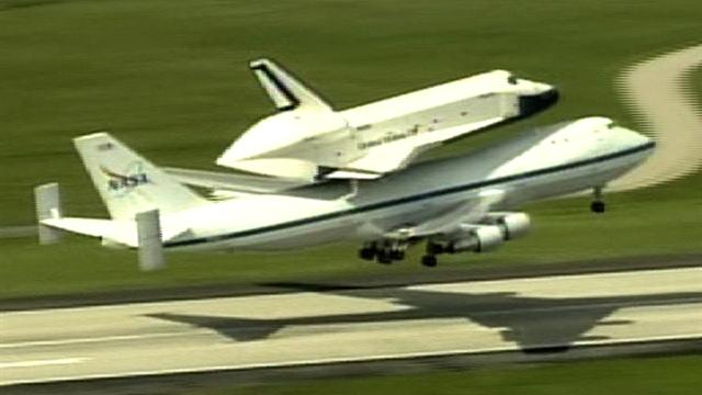 Space shuttle Enterprise takes off for New York