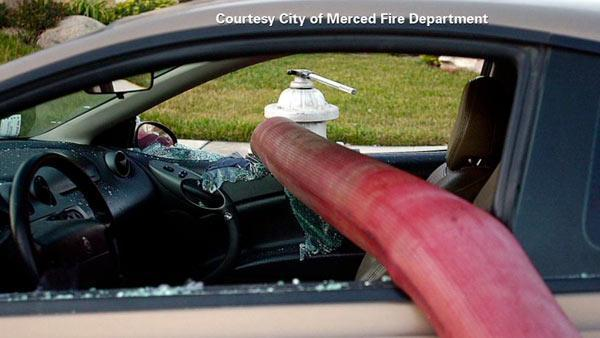 Merced Fire Department: Never park in front of a fire hydrant