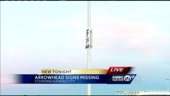Who took the parking signs from Arrowhead Stadium?