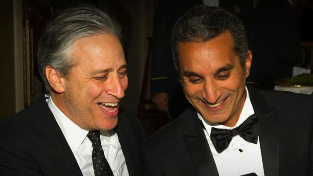 Jon Stewart offers advice to Egyptian counterpart Bassem Youssef