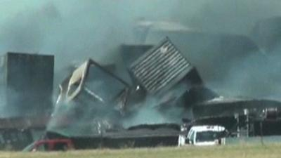 Raw Video: 3 Missing After Okla. Train Wreck
