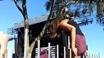 Girl Gets Shorts Stuck While Climbing Fence