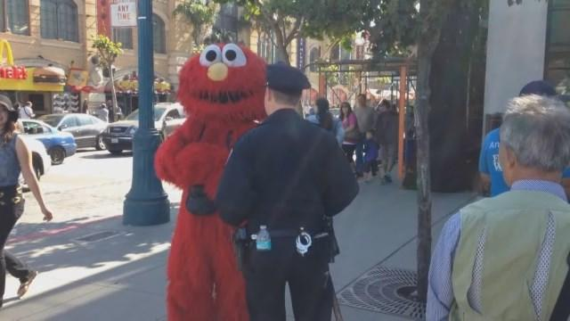 Raw Video: Police Confront 'Evil Elmo' In San Francisco