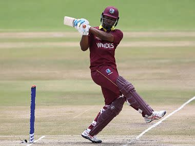 Windies' Evin Lewis in action against Netherlands. ICC