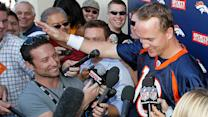 Peyton Manning jokes about reporter's height