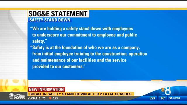 SDG&E in safety stand down after 2 fatal crashes