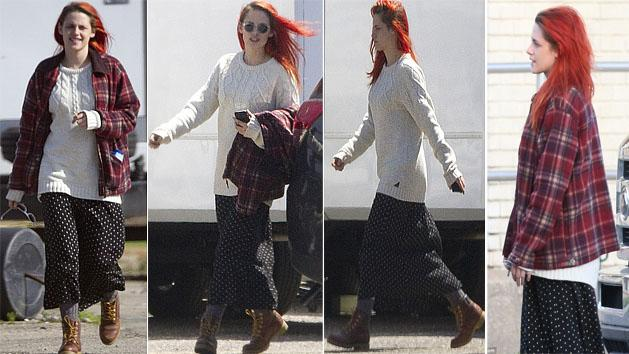 Kristen Stewart saunters around with red hair junky look