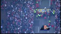 Red Sox pay tribute to Boston Marathon victims on finish line