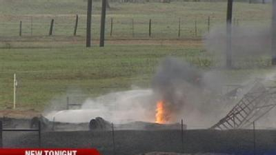 Lightning Sparks Tank Battery Fire