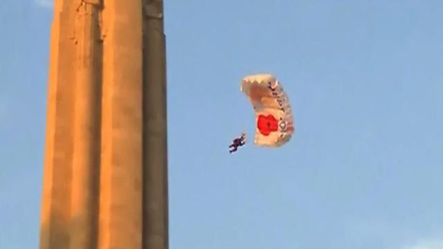 British Army honors armed forced with BASE jump