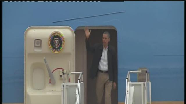 President Obama arrives in Oklahoma