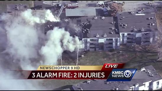 Injuries reported in 3-alarm fire at Overland Park apartment building