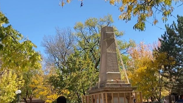 Protesters In Santa Fe Tear Down Controversial Monument On Indigenous Peoples Day