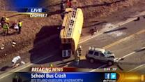 Rescue workers at scene of overturned school bus in Illinois
